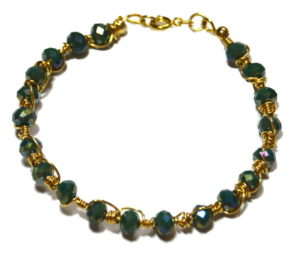 Iridescent Czech Crystal Wire Wrapped Gold-filled Bracelet