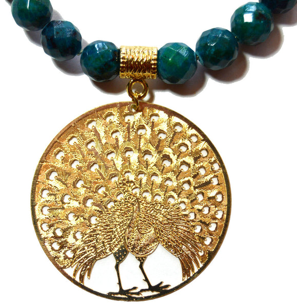 Azurite Bead Peacock Necklace