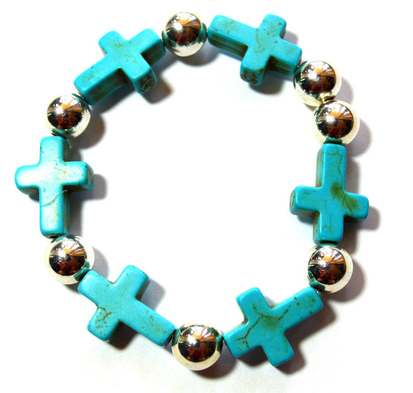 Turquoise Mini Sideways Cross Bracelet