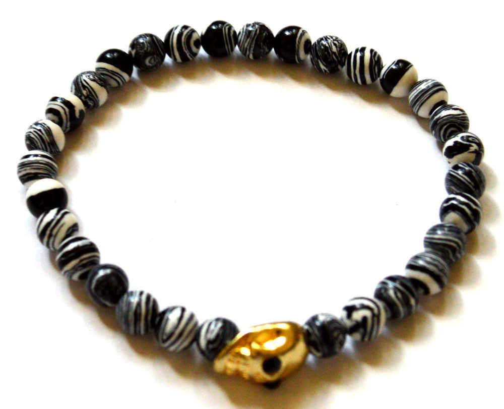 Skull Black and White Zebra Agate Bead Bracelet
