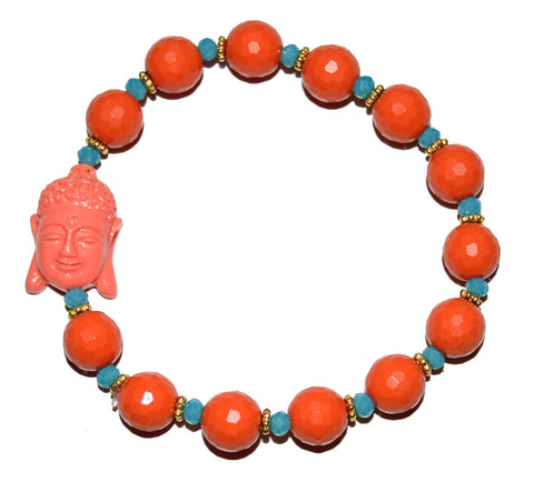 Coral and Light Blue Buddha Bracelet