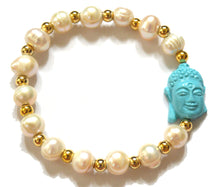 Load image into Gallery viewer, Pearl and Goldfilled Beads Bracelet Accentuated by a Buddha