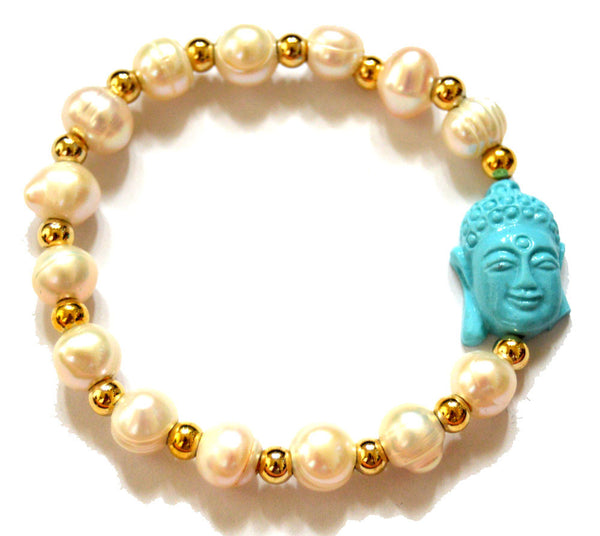 Pearl and Goldfilled Beads Bracelet Accentuated by a Buddha
