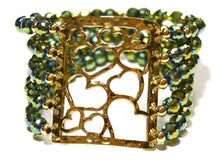 Load image into Gallery viewer, Iridescent Green Czech Crystal Multi Strand Cuff Bracelet