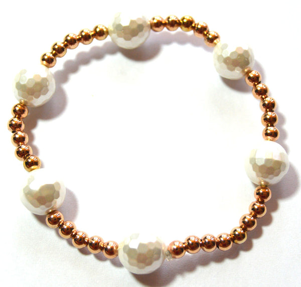 Pearl and Rose Gold Bead Bracelet