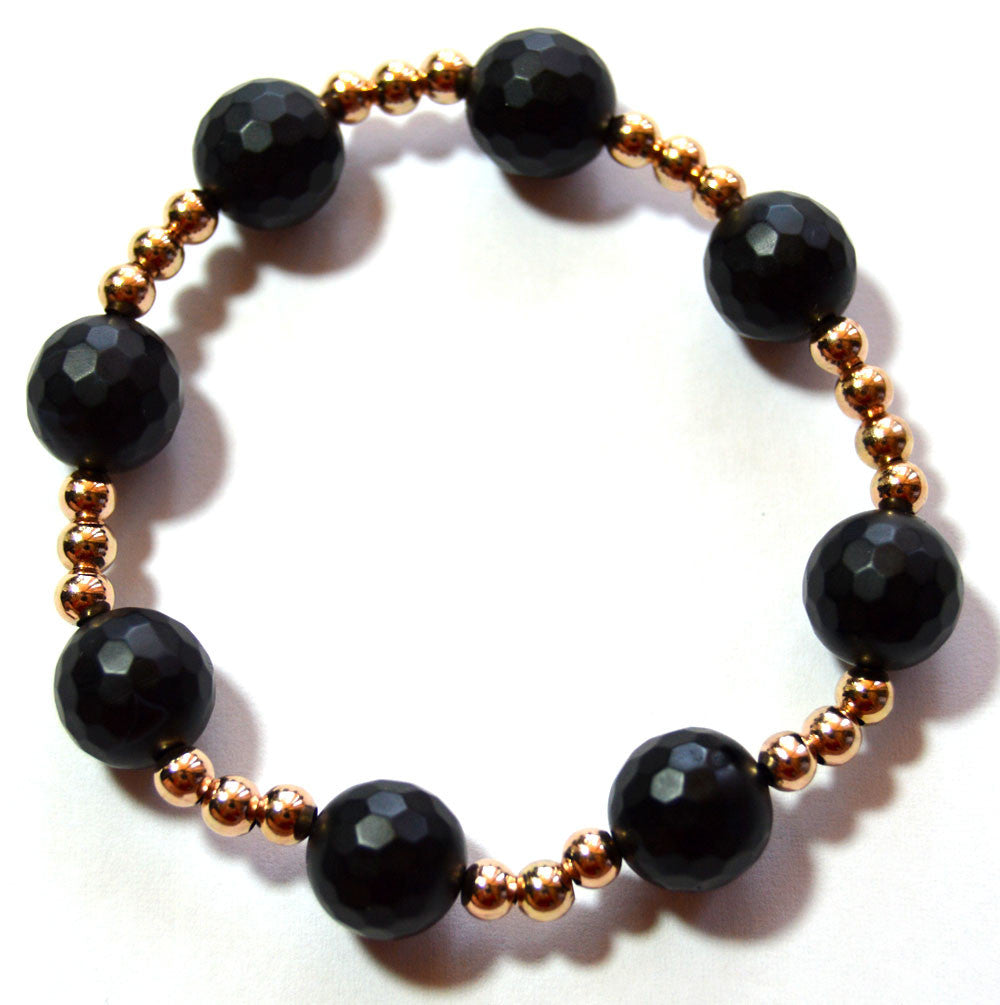 Onyx and Rose Gold Bead Bracelet