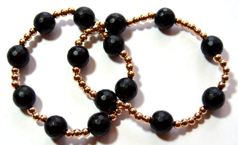 Onyx and Rose Gold Bead Bracelet Set