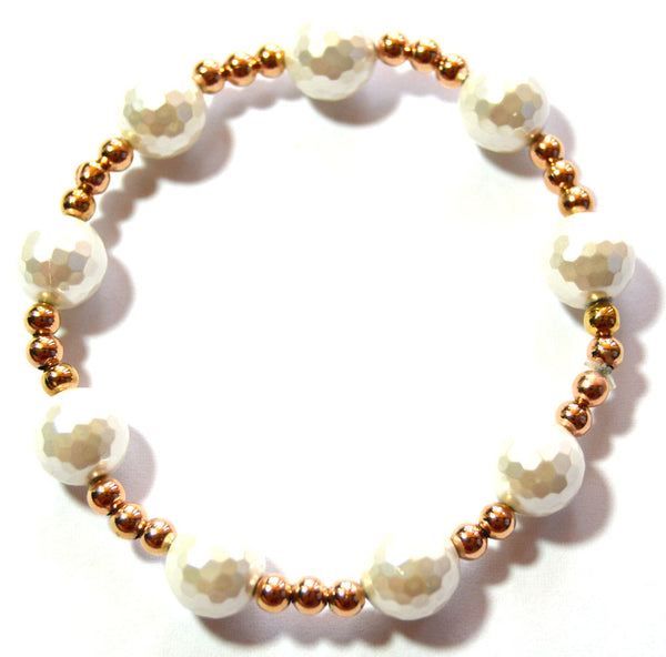 Pearl and Rose Gold Bead Bracelet Set