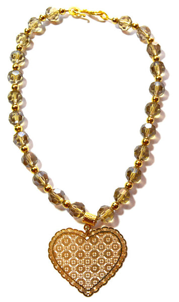 Czech Crystal Filigree Golden Shadow Heart Necklace