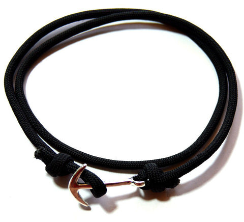 Men Black Wrap Anchor Bracelet