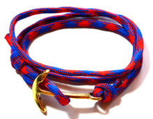 Load image into Gallery viewer, Men Blue and Red Wrap Anchor Bracelet