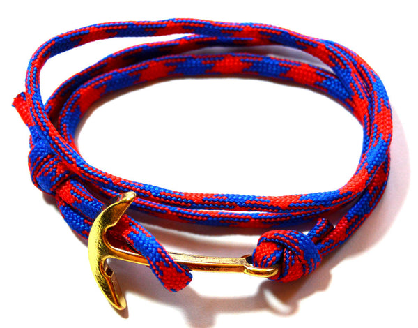 Men Blue and Red Wrap Anchor Bracelet