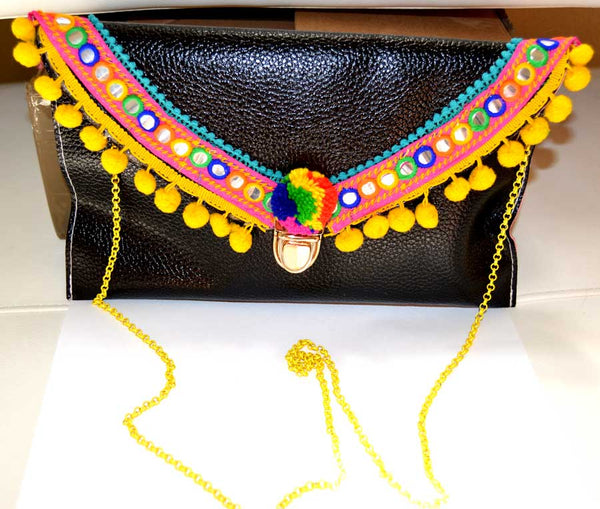 Boho Clutch with Teal Trim and Yellow Pom Poms