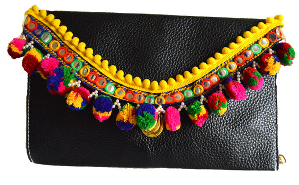 Bolivian Multi Color Pom Pom Clutch Bag