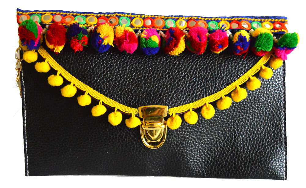 Ethnic Multicolor Pom Pom Clutch Bag
