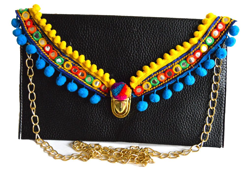 Venezuelan Yellow Trim and Blue Pom Pom Clutch Bag