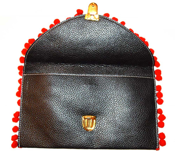 Seville Red Pom Pom Clutch Bag