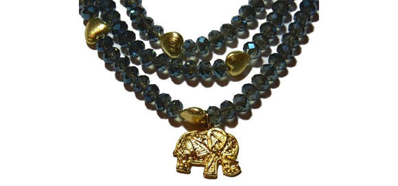 Multi Strand Czech Crystal Elephant Necklace