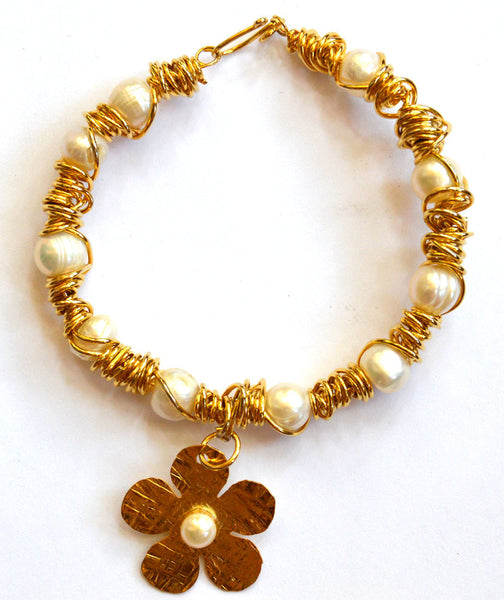 Flower 14k Goldfilled Wire Wrapped Fresh Water Pearls Bracelet