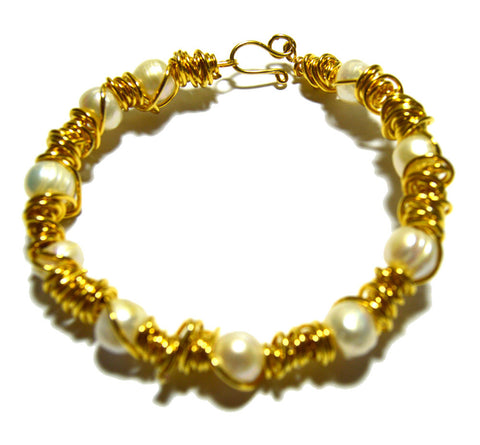 Fresh Water Pearls Gold-filled Wire Wrapped Bracelet