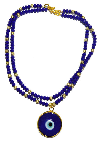 Cobalt Blue Czech Crystal Necklace Accentuated By a Blue Lucky Eye
