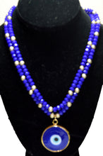 Load image into Gallery viewer, Cobalt Blue Czech Crystal Necklace Accentuated By a Blue Lucky Eye