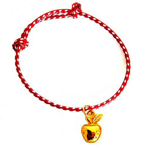 Golden Apple Charm Red and White String Bracelet
