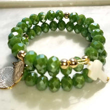 Load image into Gallery viewer, Olive Green Crystal Memory Wire Rosary Bracelet