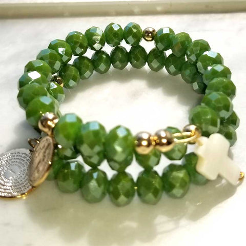 Olive Green Crystal Memory Wire Rosary Bracelet