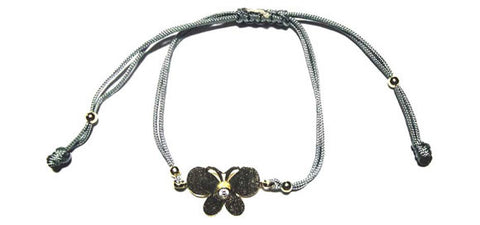 Gray String Bracelet with a Vermeil Butterfly with CZ