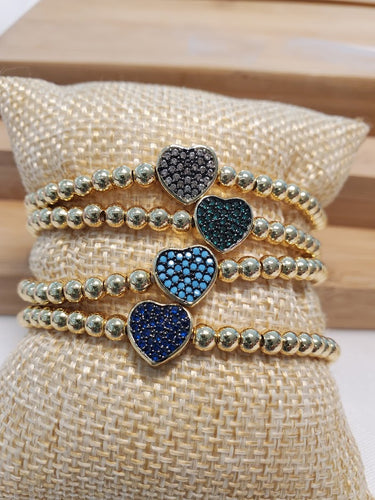 Heart with Color Czech Crystals Bracelet