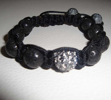 Load image into Gallery viewer, Lava Beads and Pave Swarovski Crystal Macrame Bracelet