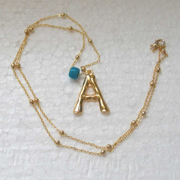 Gold Plated Bamboo Initial Letter Necklace