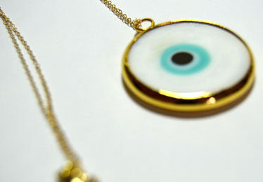 Long Goldfilled Chain Necklace Accentuated By Lucky Eye Pendant