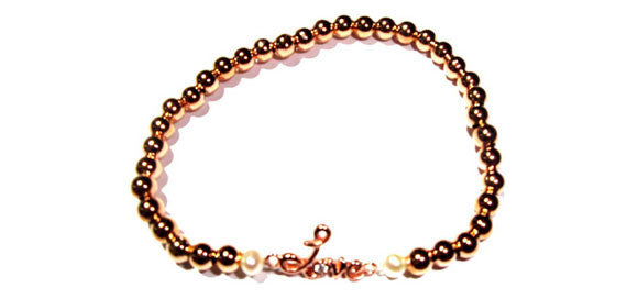 Girls 4 mm Rose Gold Filled Accentuated by a Mini Love Sign