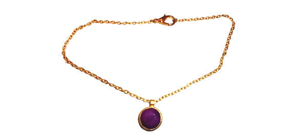 Gold Plated Chain Accentuated by Magenta Colored Jade Pendant