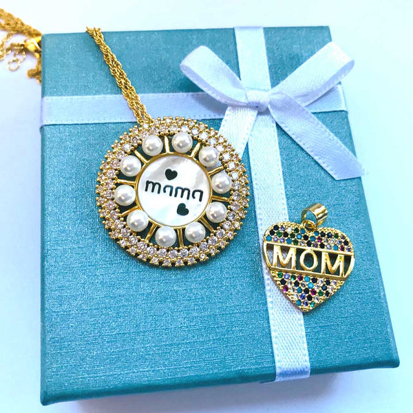 Gold-plated CZ Mother of Pearl 'Mama' Pendant Necklace