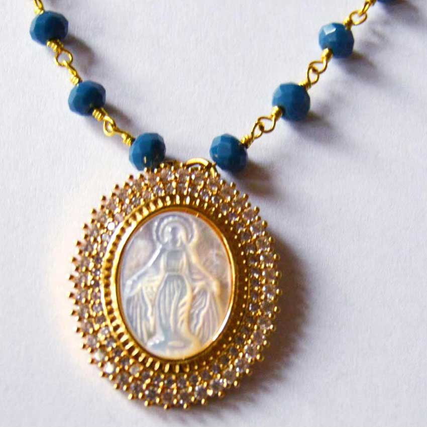Gold Plated Czech Crystal CZ Mother of Pearl Virgin Mary Pendant Necklace