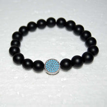 Load image into Gallery viewer, Flat Disc Turquoise Crystal Pave Onyx Beaded Bracelet for Men