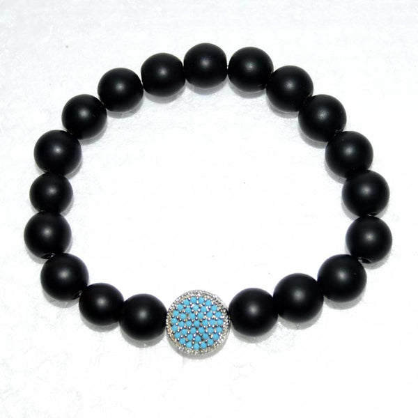 Flat Disc Turquoise Crystal Pave Onyx Beaded Bracelet for Men