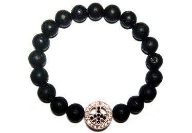 Peace Sign Lava Beads Men Bracelet