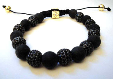 Men Onyx Bracelet Accentuated By Jet Crystal Encrusted Beads