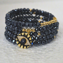 Load image into Gallery viewer, Navy 5-Row Czech Crystal Boho Chic Bracelet and Lucky Eye Pendant