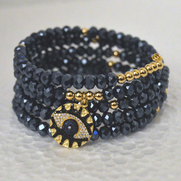 Navy 5-Row Czech Crystal Boho Chic Bracelet and Lucky Eye Pendant