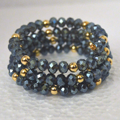 Iridescent 3-Row Blue Czech Crystal Boho Chic Bracelet