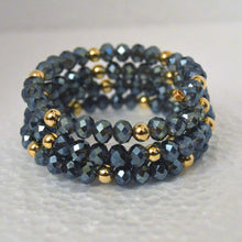 Load image into Gallery viewer, Iridescent 3-Row Blue Czech Crystal Boho Chic Bracelet