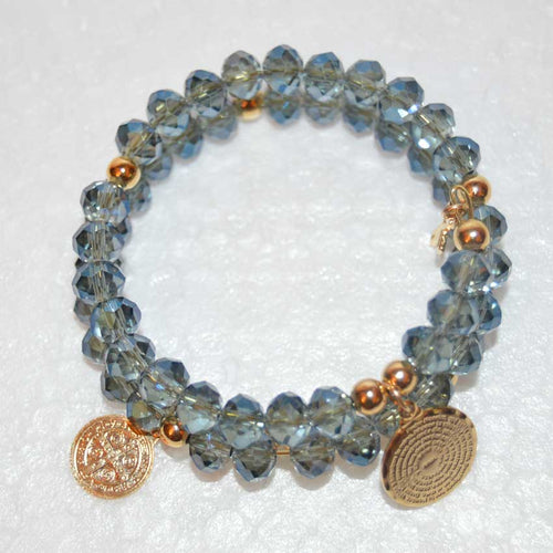 Bermuda Blue Crystal Small Cross Memory Wire Rosary Bracelet