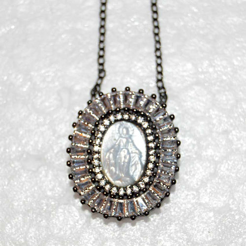 Mini Oval Gunmetal CZ Mother of Pearl Miraculous Medal Necklace