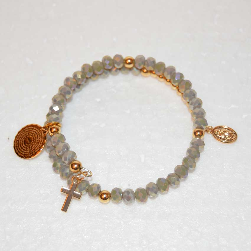 Gray Opal Crystal Small Cross Memory Wire Rosary Bracelet