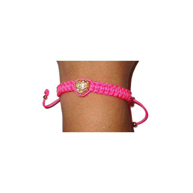 Pink Bracelet with Gold Plated Pave Heart